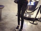 #2015秋季OL通勤韩版显瘦大格纹休闲裤女百搭哈伦小脚裤长裤女