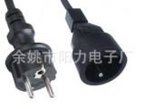 欧标电源线PU弹簧线 两芯带插头电源连接线 2 0.5平方2米电源线