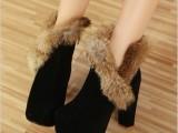 批发代理一件代发百分百真兔毛 好穿粗跟 防水台短靴 内绒保暖靴