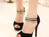 2014夏季女鞋 欧美时尚超高跟凉鞋罗马后拉链性感美腿高跟凉鞋