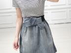 2014夏装新款韩版黑白条纹拼接女式收腰短袖牛仔连衣裙