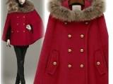 韩国新款女装英伦风女带帽貉子毛呢披肩外套 时尚季斗篷大衣