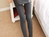 九方客 厂家分销新款加绒假两件显瘦打底裤+拉链拼皮短裙一件代发