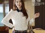 凯瑞儿秋装正品 2014韩版女装新款修身小翻领女衬衫 长袖黑白衬衣