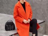 韩版新款女装中长款过膝毛呢大衣女端庄大气显瘦大码