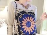 2014春装新款宽松民族风向日葵针织衫复古套头毛衣女