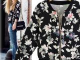 欧洲站2014秋装新款欧美街拍风格长袖拉链圆领印花卫衣外套