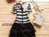 33943黑色 韩版烫钻条纹两件套连衣裙