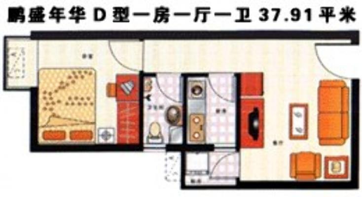 鹏盛年华一房一厅,朝南向,楼下美食街,双地铁口7/9号线