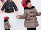 冬装淘宝爆款童装正品 MI NA 女童装中长款带帽双排扣休闲羽绒