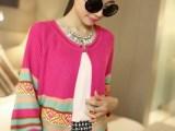 2014春夏新款 甜美夹色针织开衫 条纹纯棉修身七分袖针织开衫批