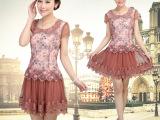中老年连衣裙新款夏装妈妈装40-50岁中年女装短袖蕾丝中长款裙子