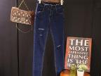 斯顿女装韩版修身蓝色破洞牛仔裤显瘦小脚裤长裤微信代理3021#