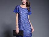 新款夏装蕾丝刺绣荷叶边袖圆领 欧洲站两件套A字版型连衣裙Q852