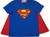全网唯一 超人T恤Superman短袖童装/亲子装情侣 带披风