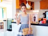 2015夏季新款甜美淑女收腰镂空条纹撞色修身连衣裙A字背心裙