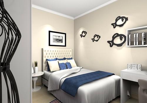 次卧:随性而舒适的卧室设计,能让人倍感舒适和温馨。靠墙设计的书柜组合尽显随意个性,半开放式的设计,随意摆放书籍与装饰品。.jpg