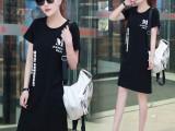 11元韩版女装新款夏季短袖T恤中长款连衣裙宽松印花衫