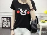 t恤女夏季热卖 女士短袖T恤韩版V领修身弹力印花打底衫上衣
