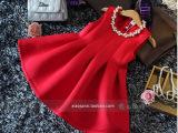韩国儿童连衣裙2014秋装新款女童太空棉红色背心裙无项链
