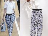 厂家 2015夏装新品女式休闲套装 白色短袖特色衬衫+花色收腰长