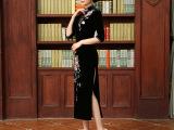长款丝绒旗袍 简丽美春款新品旗袍复古绣花