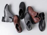 欧美短筒女靴V口短靴及裸靴粗跟靴低跟圆头