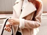 韩版鹿皮绒羊羔毛翻领外套女冬加绒加厚短款