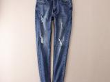 外贸原单尾货批发女装 秋季新款 水洗破洞铅笔裤小脚牛仔裤