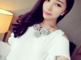 【艾佳依】2014夏装新款韩国清凉小飞袖雪纺露肩上衣