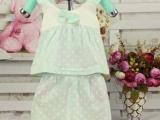 2014夏季新款女童幼儿宝宝纯棉吊带背心无袖蝴蝶结套装0-2岁批发