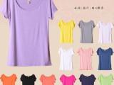 2014韩版女装批发 圆领t恤女 宽松弹力短袖  糖果色莫代尔打