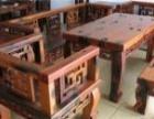 枣庄老船木功夫茶几茶台批发实木家具桌椅组合图片
