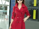 2014秋冬新款韩版修身女装呢子风衣 女中长款毛呢外套女