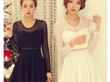 2014春装新款 性感条纹蕾丝拼接小波浪压纹针织面料连衣裙