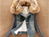 2014新款秋装牛仔褂上衣韩版大毛领棉衣毛线袖牛仔短外套女