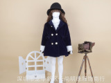 新款冬季韩版长袖双排扣女童羊毛呢子大衣蝴蝶结保暖儿童大衣外套