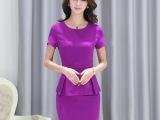 2015夏新款韩版短袖职业套装女装时尚套裙修身两件套工作服批发
