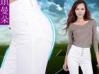 EFANS夏季女裤韩版 高腰牛仔裤白色 女式小脚裤排扣铅笔女裤子