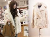 (剪标)韩国进口冬季新款毛绒绒金扣超厚保暖外套棉服棉衣