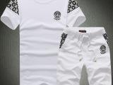 男士新款精品圆领T恤套装 批发供应 商务休闲修身短袖T恤套装