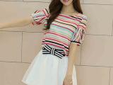 夏装新款韩版 小清新短袖雪纺连衣裙女夏两件套装