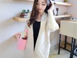 15秋冬新款韩版中长款宽松口袋针织开衫蝙蝠袖毛衣外套女装