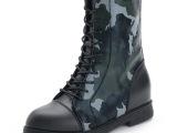2014秋冬新款休闲真皮短靴圆头低跟马丁靴迷彩方跟女靴子一件代发