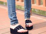 2014夏季新款女士人字拖韩版坡跟松糕厚底防滑沙滩夹脚凉拖鞋子潮
