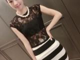 欧洲站2014夏季新款女装时尚蕾丝透视衫+蕾丝拼接中长裙套装