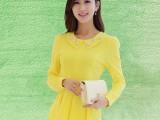 2014年秋季新款韩版大码女装长袖蕾丝拼接雪纺衫女娃娃领雪纺上衣