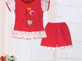 夏季新款儿童纯棉短袖套装女童裙装 宝宝短袖短裙+短裤2件套101