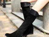 厂家直销14秋冬新款过膝靴长筒靴子 韩国坡跟冬靴加绒真皮女靴