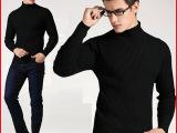 男士加厚高领打底衫男修身弹力针织衫黑色高领毛衣男